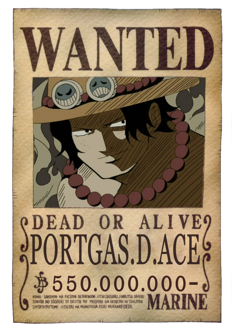 Ace 39 s wanted poster with the official image by simscreed - One piece wanted poster ...