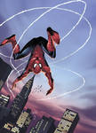 Spiderman leaps by coloring