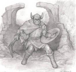 Warrior at ruins