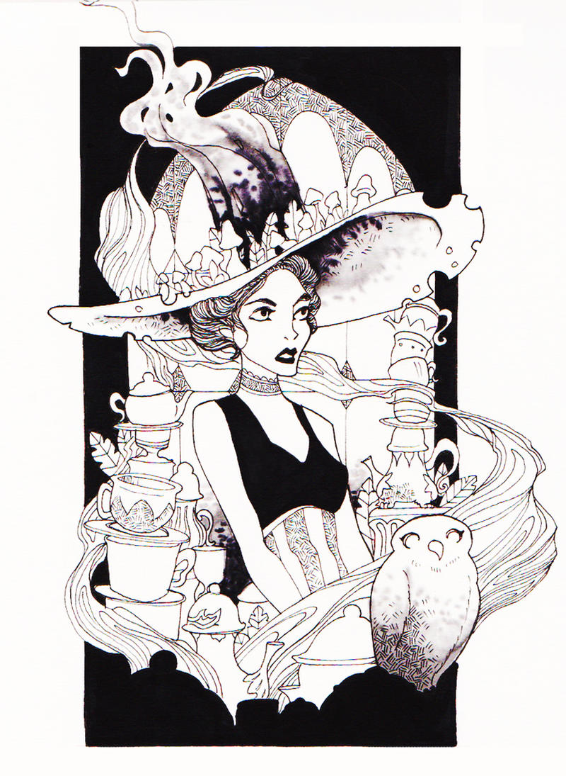 Inktober#2 The Tea Witch by ApollinArt