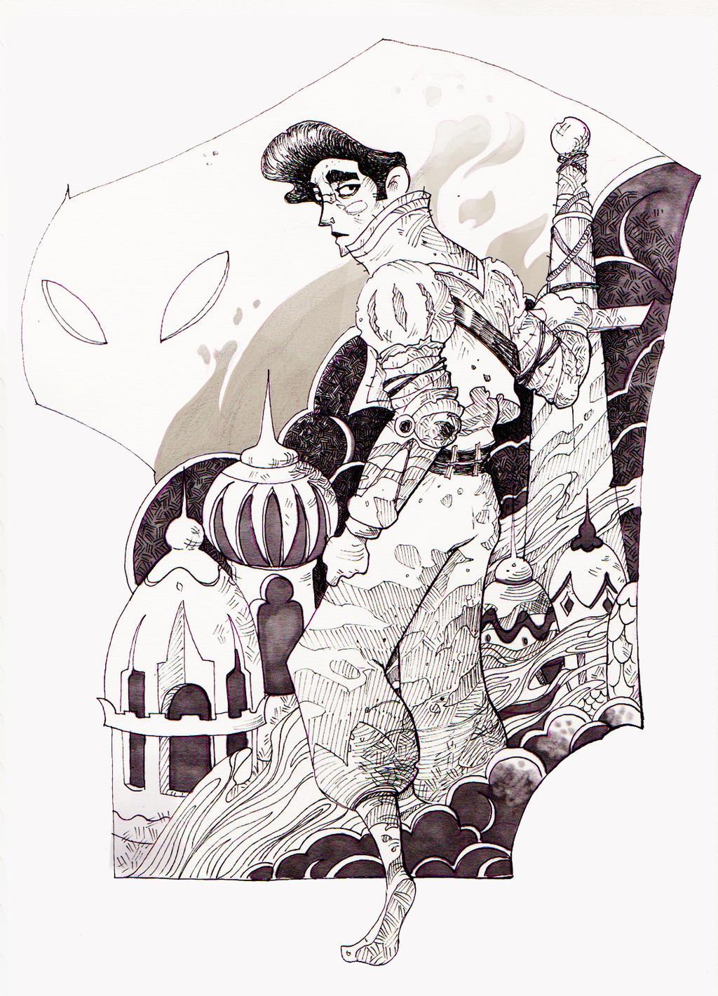 Inktober#3 The Fallen Knight by ApollinArt