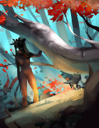 Speedpainting: forest witch by ApollinArt