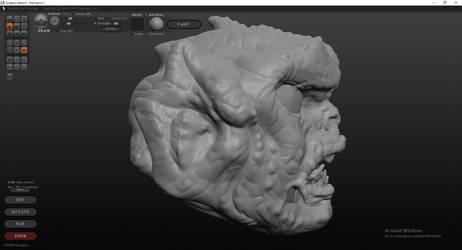 Fishmonger Head Sculpt (Side) by BaneNascent