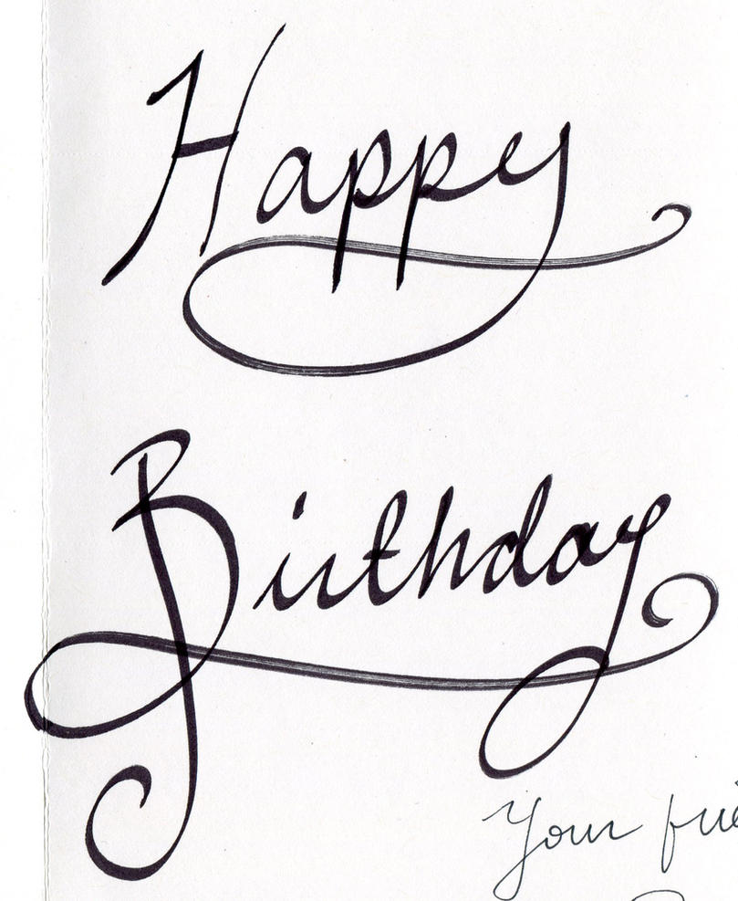 Happy Birthday Calligraphy By Renee Mariposa