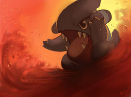 Gible: Sand Attack by EemsArt
