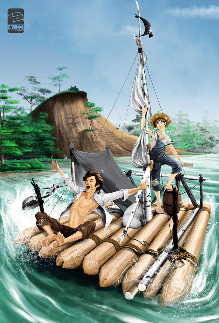 Tom Sawyer and Huckleberry Finn by FREEdige
