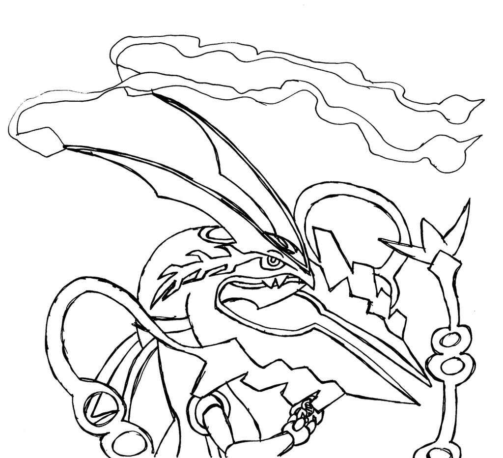 Mega rayquaza sketch by arceusfish on deviantart for Pokemon coloring pages mega ex