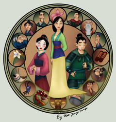 Mulan stained glass colored