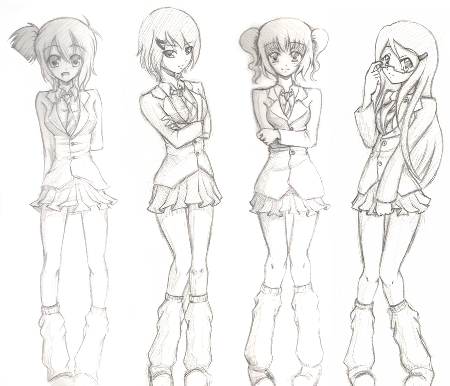 school girl reference poses