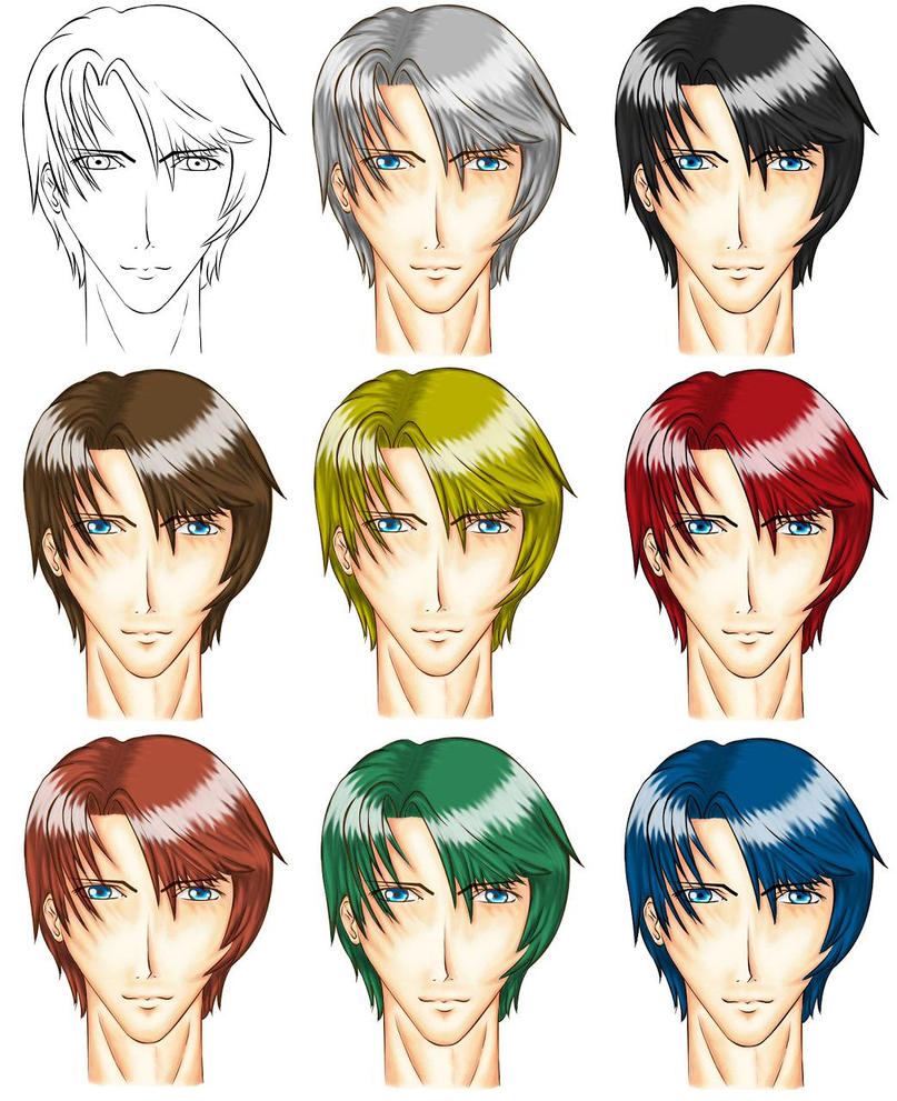 8 Hair Colours on Anime Man by sassie-kay on DeviantArt