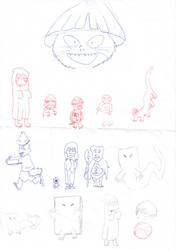 Gegege no Kitaro random character sketches by TaiFerret