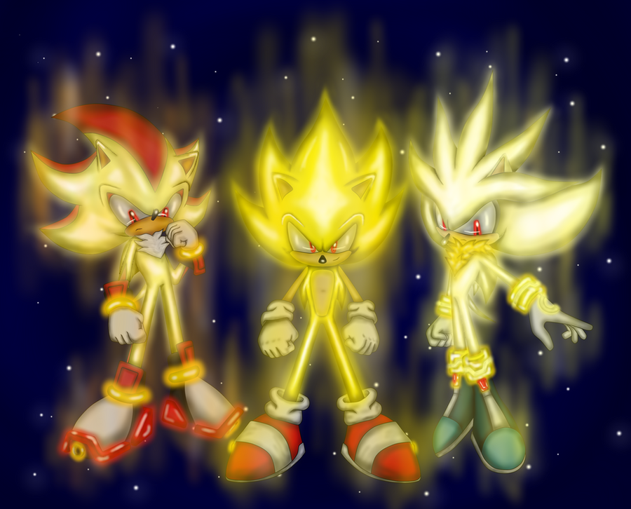 Super Sonic Super Shadow y Super Silver by japoloypaletin on