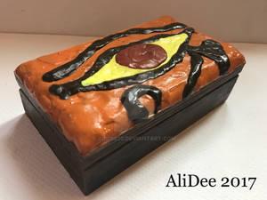 Clay on Wood Box: Eye of Ra