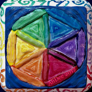 Painted Clay Seed of Life on Wood