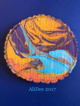 Marble Spray Paint on Wood Slice
