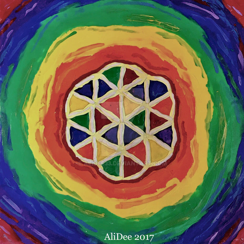 Primary Flower of Life Clay Design on Wood by AliDee33