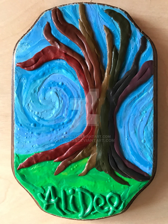 Clay on Wood: Rainbow Tree by AliDee33