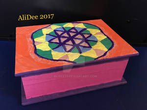 Clay on Wood Box: Flower of Life