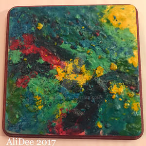 Colorful Melted Crayons on Wood