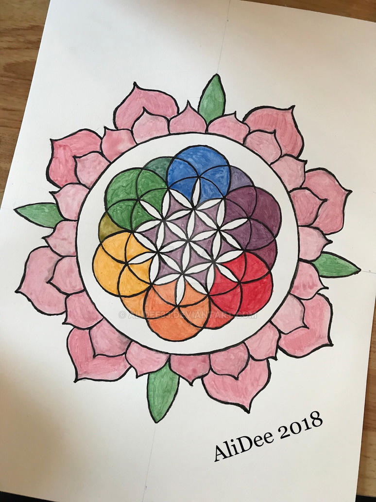 Flower Of Life In A Lotus By Alidee33 On Deviantart