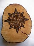 Wood Burnt Sun Symbol