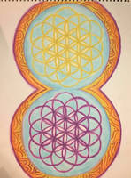 Watercolor Double Flower of Life by AliDee33