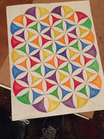 Unfinished Rainbow Flower of Life Design by AliDee33