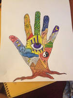 Colored Pencil Symbolic Rooted Hand by AliDee33