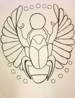 Winged Scarab Outline Stock by AliDee33