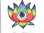 Watercolor Rainbow Lotus with Eye by AliDee33