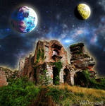 Ruins Glowing with Celestial Sky by AliDee33