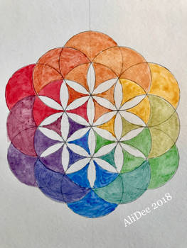 Sumi Ink Rainbow Flower of Life