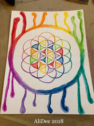 Dripping Rainbow Flower of Life by AliDee33