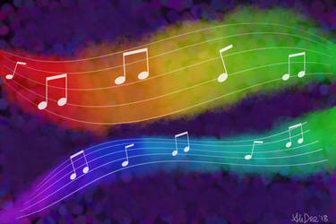Musical Notes Digital Painting by AliDee33