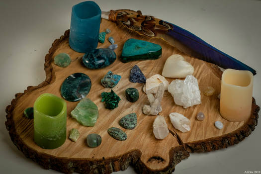 Candles, Crystals, and a Feather