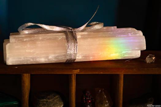 Selenite with Rainbow Prism