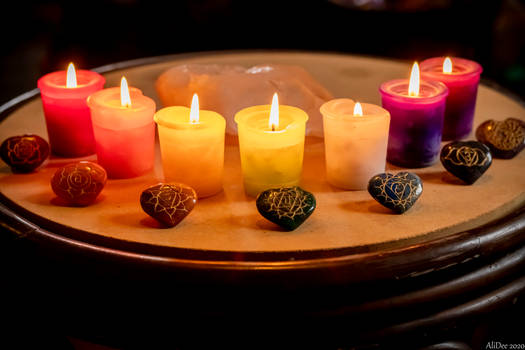 Chakra Candles with Stones