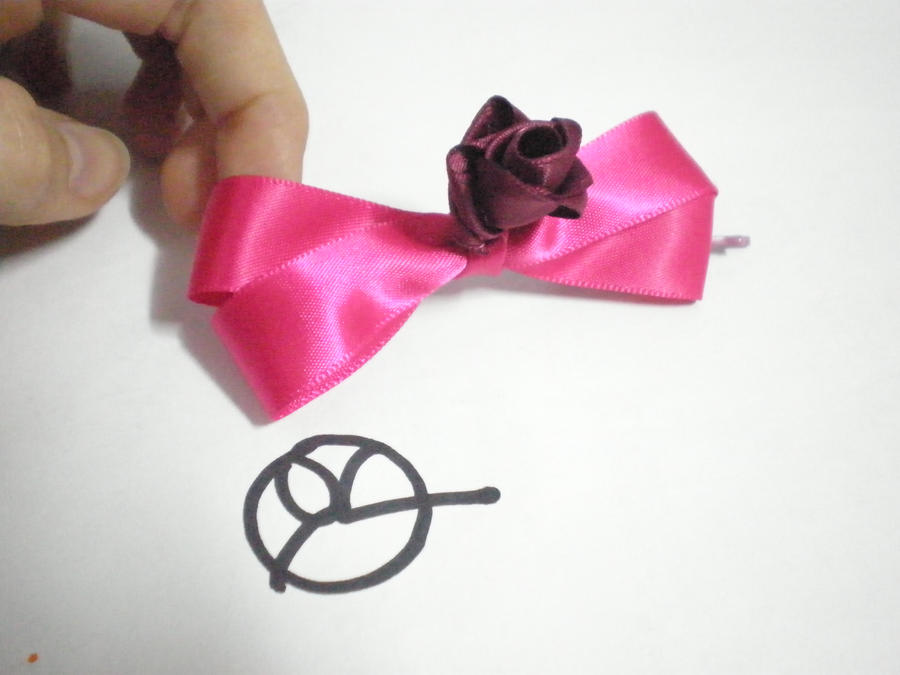 Rose and ribbon hair accessory by 402ShionS3