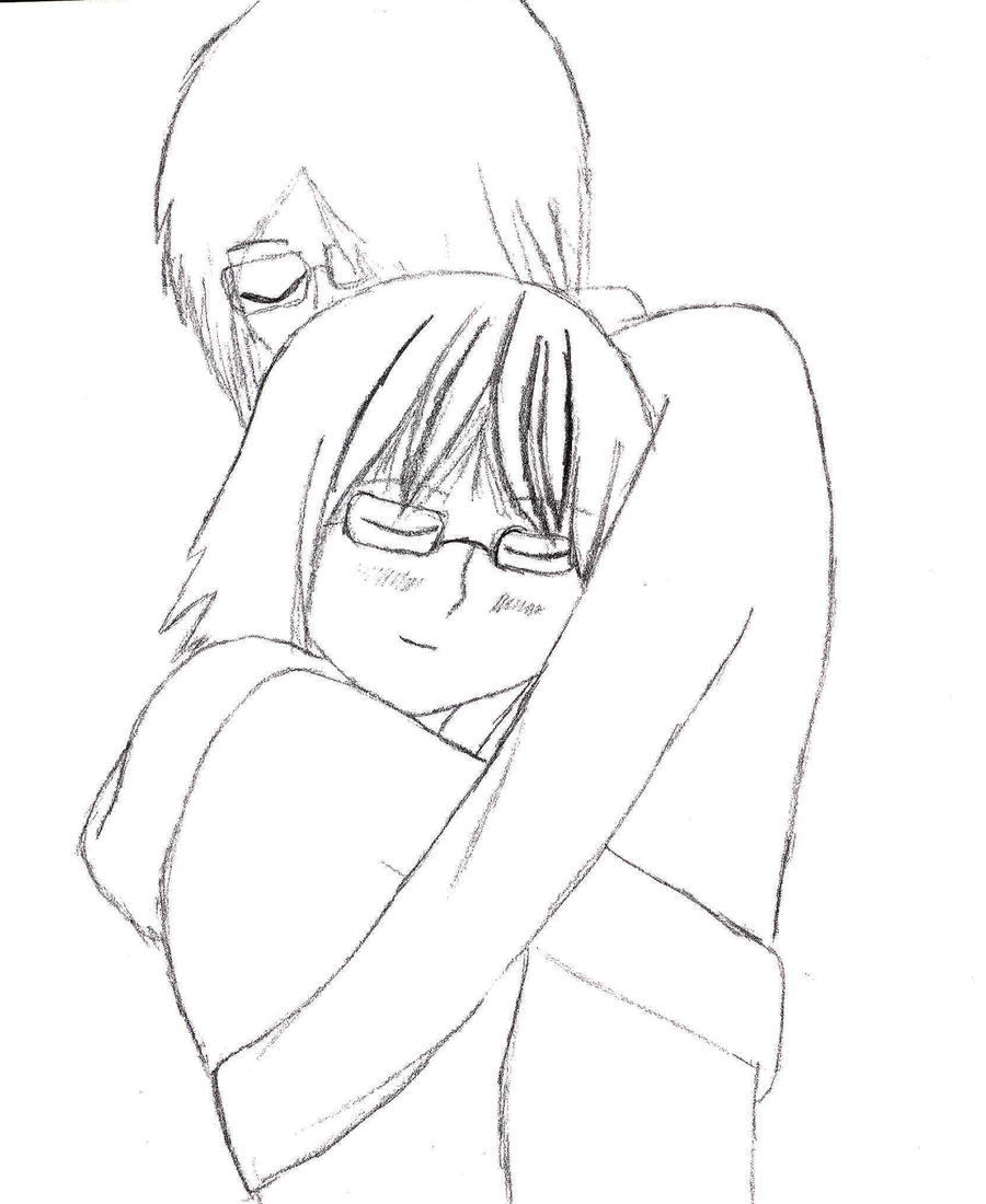 Couples Hugging Images Drawing Anime Couple Hugging Drawing