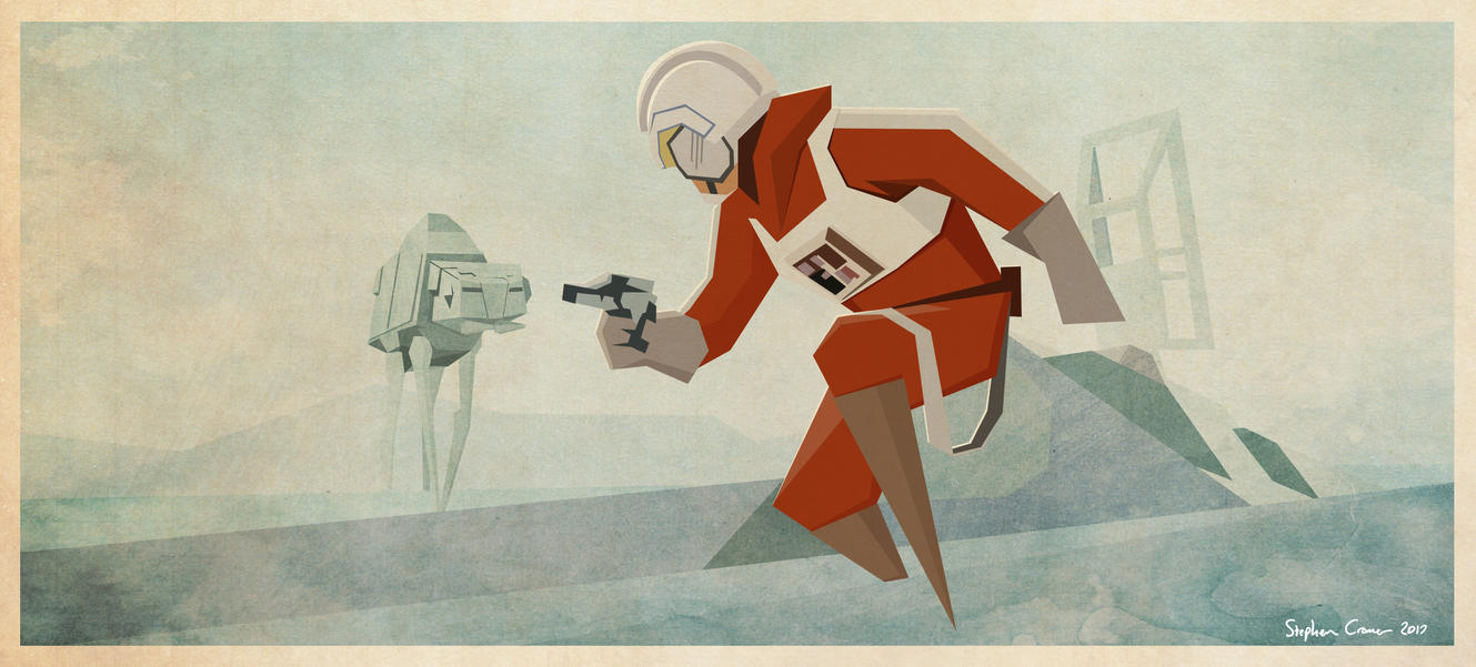Luke Crashed Snowspeeder (Ralph McQuarrie) by Cranimation