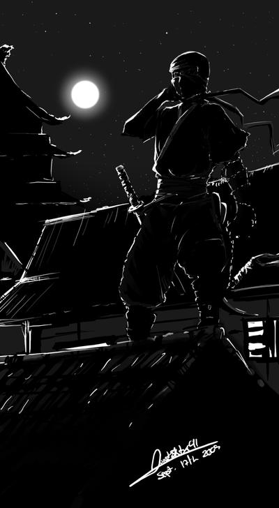 Ninja At Night by faustsketcher