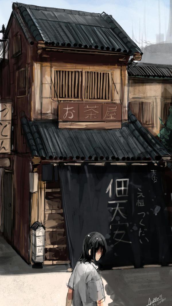 Japanese Tea House by faustsketcher
