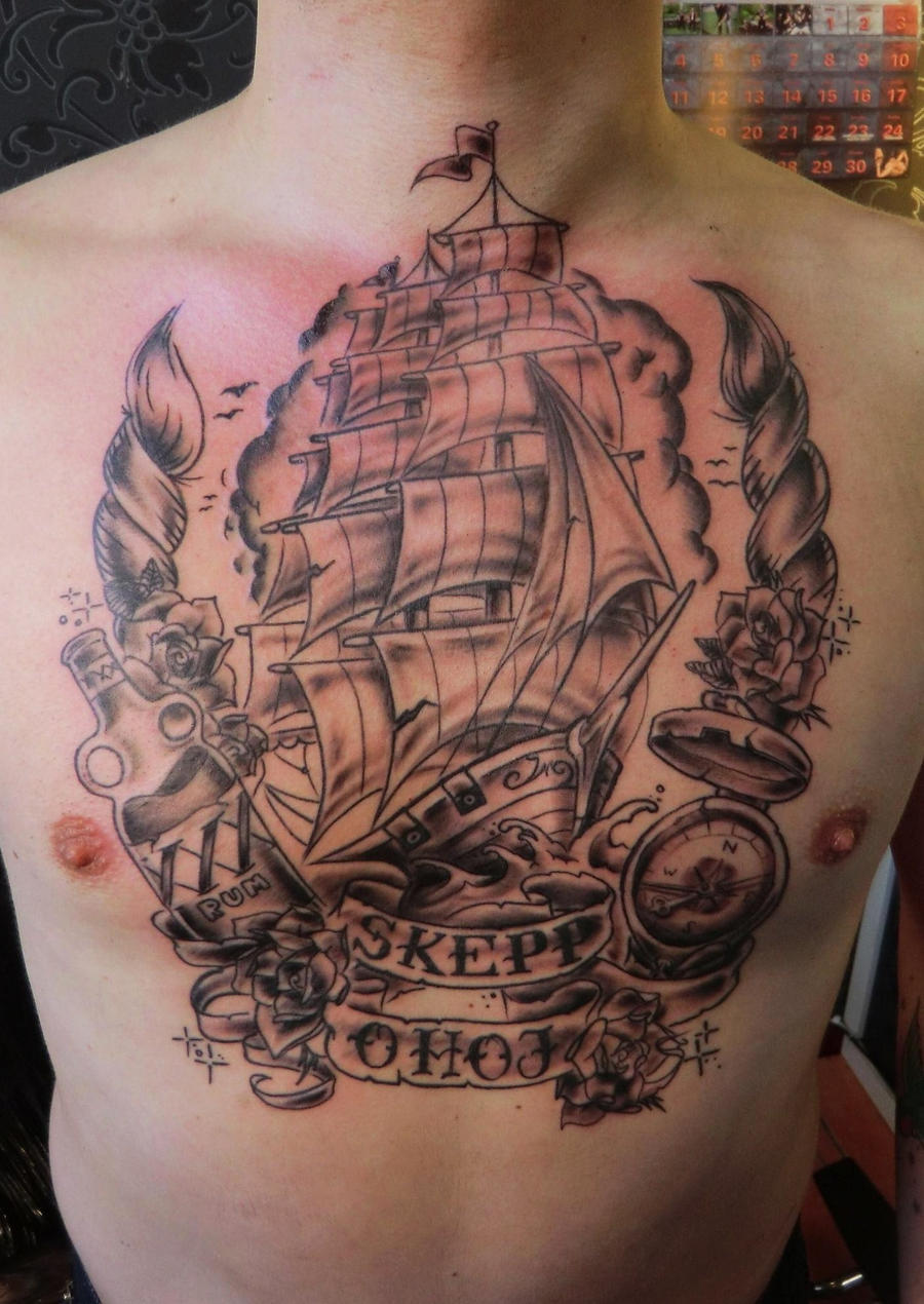 Old World Map Back Tattoo. Skepp o hoj by Vinoshitto on DeviantArt
