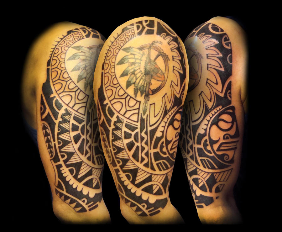 polynesian maori styled tattoo by vinoshitto on deviantart. Black Bedroom Furniture Sets. Home Design Ideas