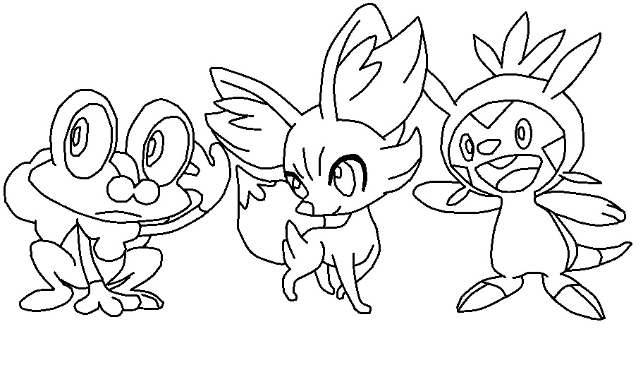 Pokemon Starters Gen 6 Coloring Page by TheWritingGamer on