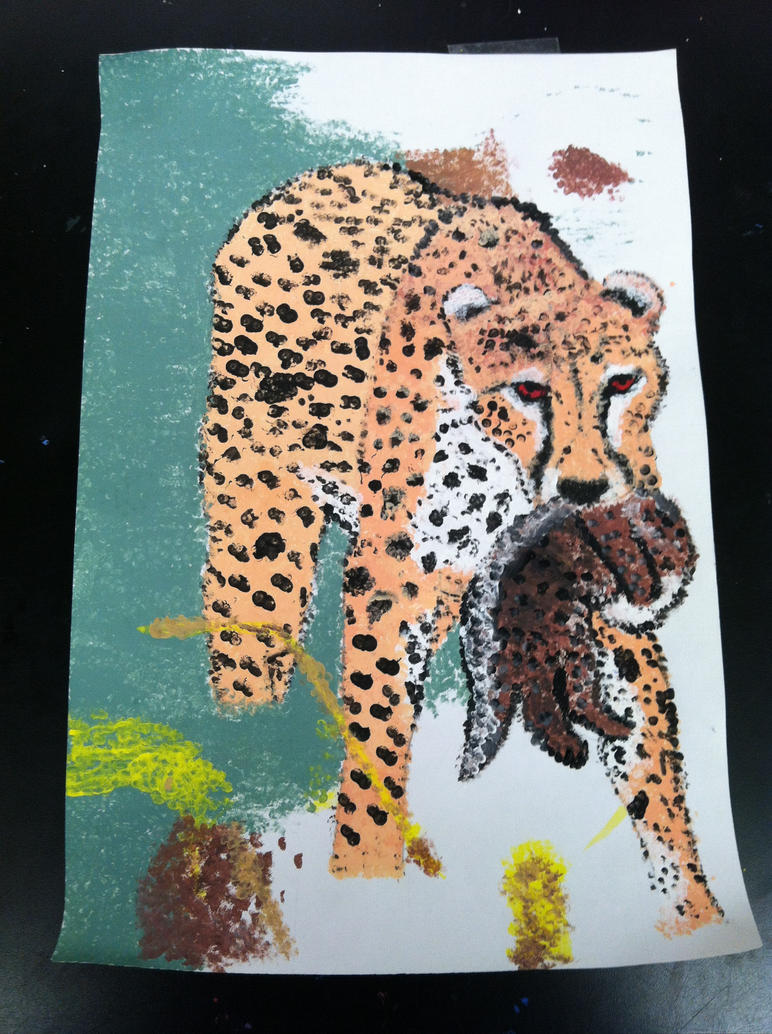 My Pointillism Cheetah by Numbdaydreamer