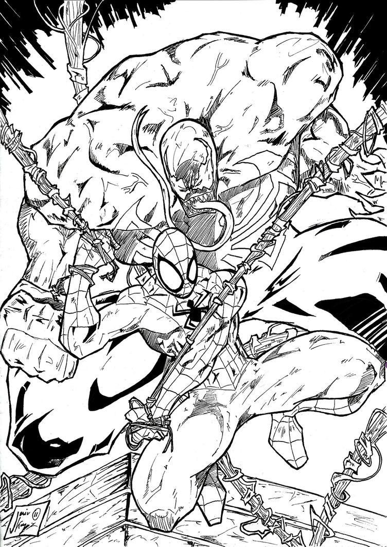 spiderman vs venom coloring pages spiderman vs venom inks by jey2k on deviantart