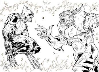 Wolverine Vs. Sabretooth inks by Jey2K