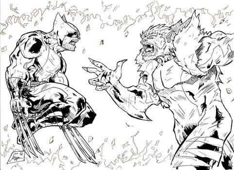 Wolverine Vs. Sabretooth inks