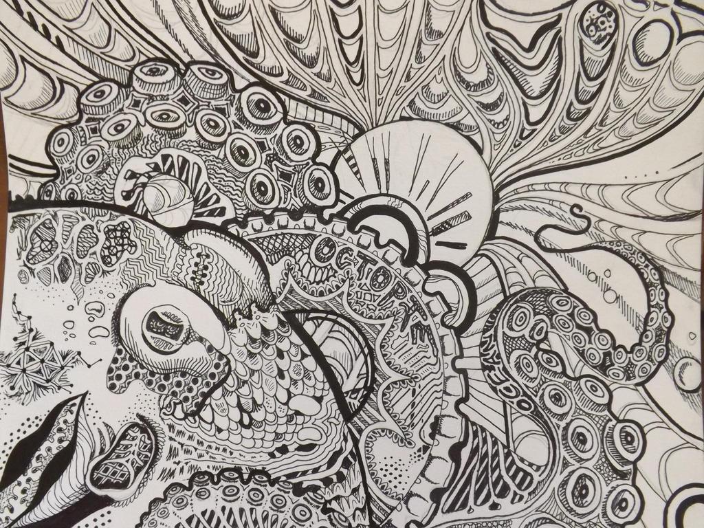 Sharpie Ocotpus Zentangle Drawing By Dustywallpaper On